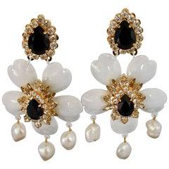 Shourouk White Dahlia Pierced Earrings