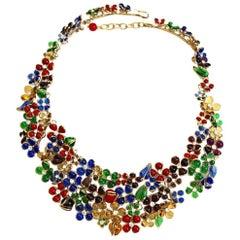 Gripoix Plastron Floral Necklace