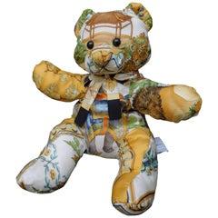 "Salvatore Ferragamo Teddy Bear Made From ""Oriental"" Pattern Silk Scarf"