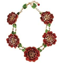 Gripoix Poppy Poured Glass Necklace