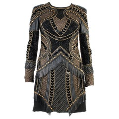 Versace Embellished Leather Dress