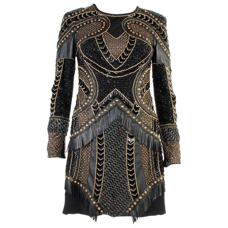 Versace Embellished Leather Dress For Sale