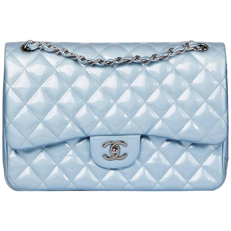 301ca08f1d9d Chanel Sky Blue Quilted Iridescent Patent Leather Jumbo Classic Double Flap  Bag For Sale.
