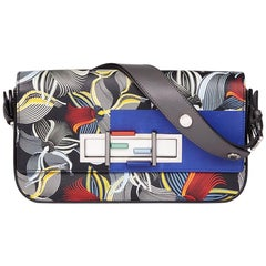 Fendi Grey & Blue Orchard Print Calfskin Leather 3 Baguette