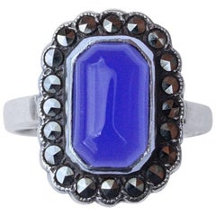 Art Deco Silver, Marcasite and Blue Glass Ring