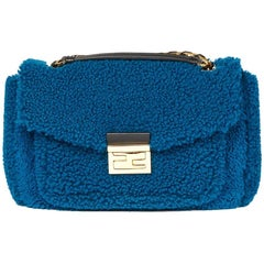 Fendi Blue Shearling Be Baguette