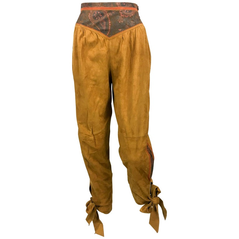 Roberto Cavalli Tan Suede Cropped Pants, 1980s