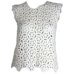 Comme des Garcons White Drama Crochet Top,  2011 Collection