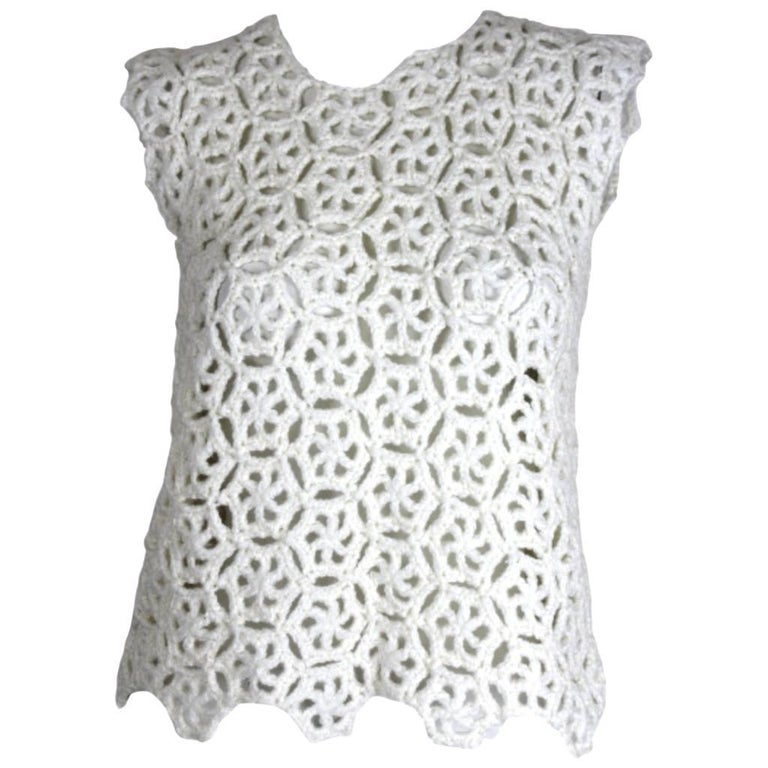 Comme des Garcons White Drama Crochet Top,  2011 Collection