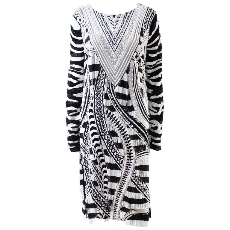 Tom Ford Fully Beaded Long Sleeve Midi Dress With Fringe For Sale At