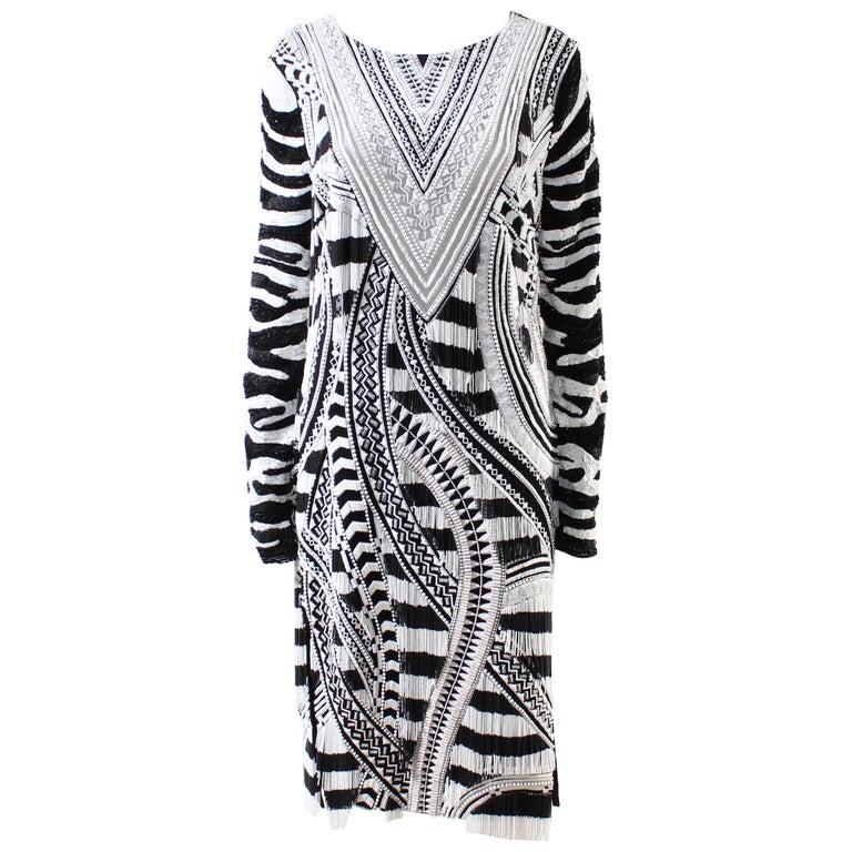 Tom Ford Fully Beaded Long Sleeve Midi Dress with Fringe