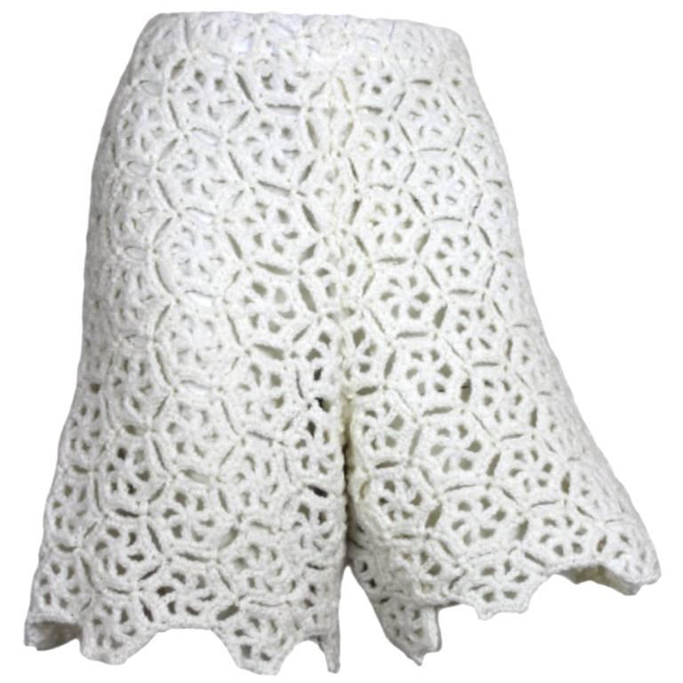 Comme des Garcons White Drama Crochet Shorts, 2011 Collection