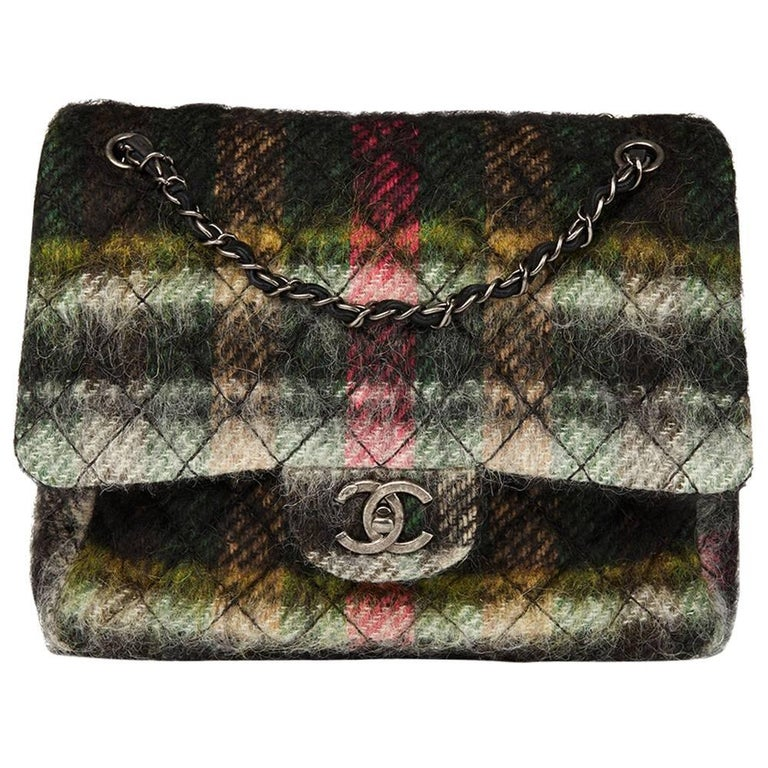 Chanel Dark Muti Colour Tartan Quilted Mohair Fabric Day