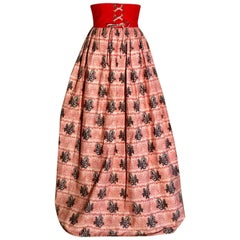 Floral Festival Vintage Maxi Skirt Lace Up Waist Detail in Red White and Black