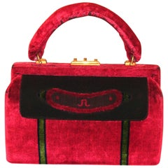 Vintage, Classic Red Sculpted Velvet Bag by Roberta di Camerino