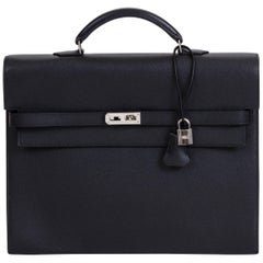 Mint Condition Hermes Black Epsom Kelly Briefcase with Box