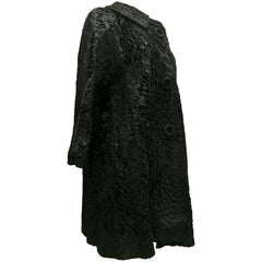 20th Century Sculptural Persian Jet Black Lamb Fur Swing Car Coat