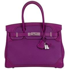 Rare Hermes 30 Birkin Ghilies Anemone Bag