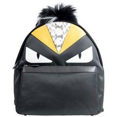 Fendi Grey Fox Fur Reptile Print Zip Around Monster Eyes Backpack
