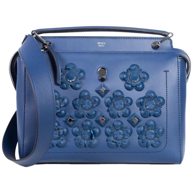 Fendi Womens Blue Leather Medium Dotcom Flowerland Flowers Embellished Bag  For Sale 2dc03565b4