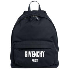 Givenchy Black Cotton Blend Leather Trim Zip Around Logo Front Backpack