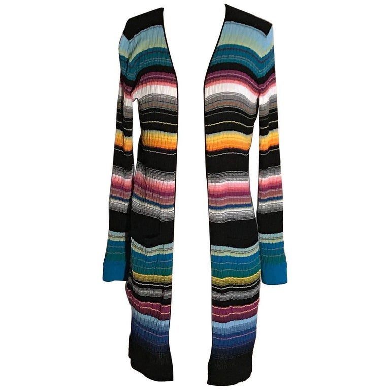 Missoni Multicolor Stripe Knit Cardigan Sweater For Sale