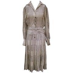 Saint Laurent Rive Gauche Silk Print Belted Houndstooth Dress c 1980s