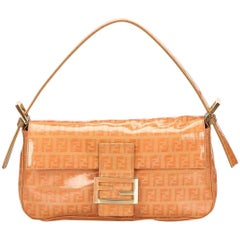 Orange Fendi Zucchino Mama Baguette Bag