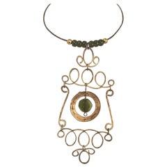 1960s Handmade Hammered Wire Art Necklace