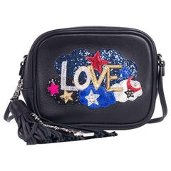 Saint Laurent Womens Black Leather Mini Love Embellished Blogger Bag