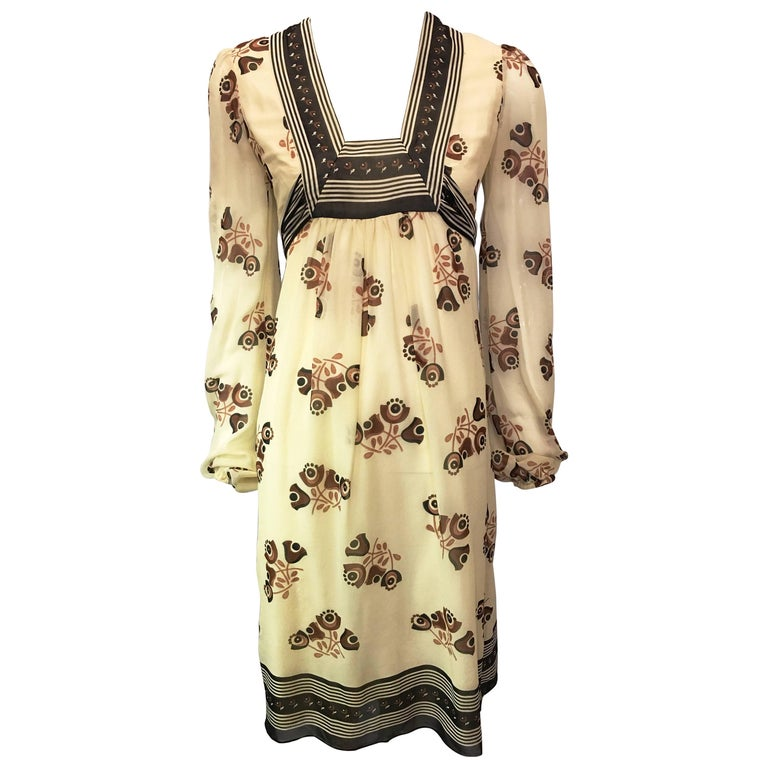1990s Anna Sui Cream Baby Doll Dress