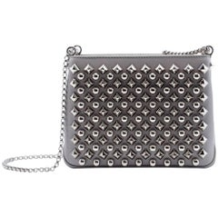 Christian Louboutin Small Triloubi Silver Spiked Shoulder Bag
