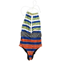 Missoni Blue White Orange Stripe Slit Front Knit Swimsuit or Bodysuit