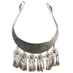 Sterling Silver Etched Collar with Dangling Pendants, 1960s