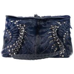 Roberto Cavalli Regina Medium Blue Black Radiant Studded Satchel Bag