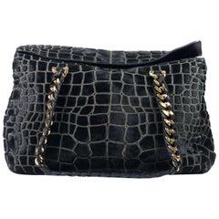 Roberto Cavalli Black Medium Pony Hair Croc Design Satchel Shoulder Bag