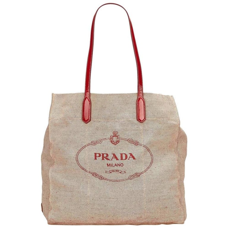 922da3e2ab848a Beige and Red Prada Logo Canvas Tote Bag For Sale at 1stdibs