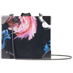 Roberto Cavalli Black Leather Push Lock Floral Print Clutch with Straps