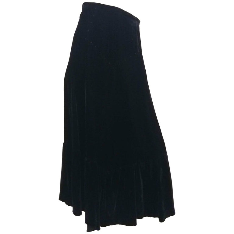 St. John Ruffled Black Velvet Skirt