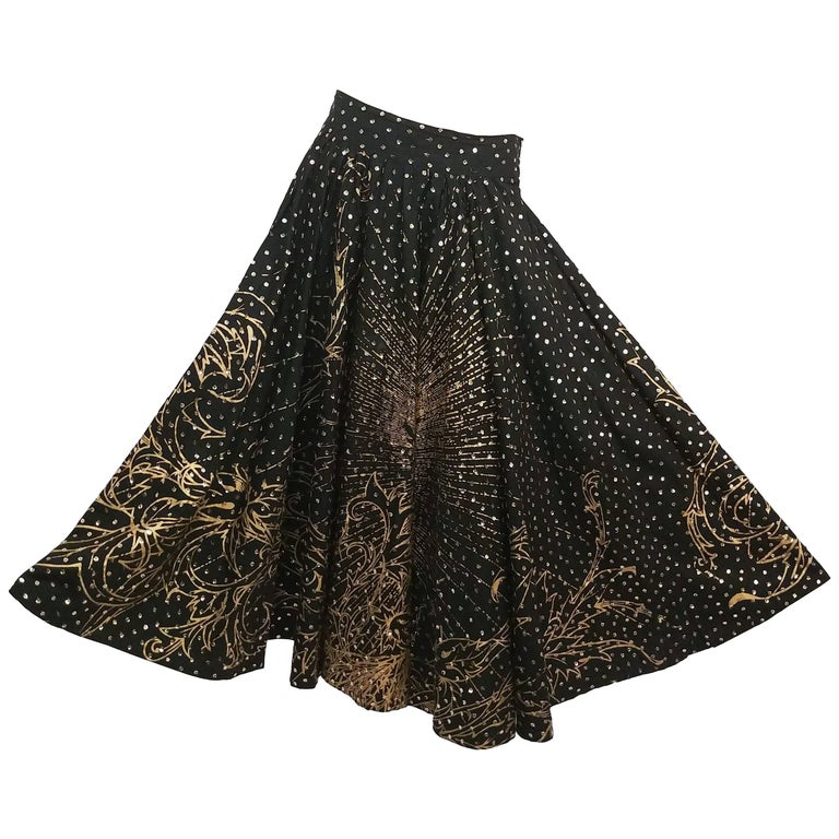 Mexican Golden Rose Sequin Painted Circle Skirt, 1950s