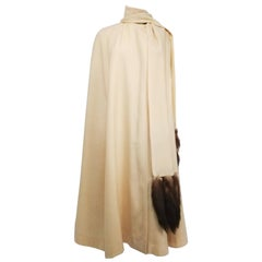 Cream Full Length Wool Cape with Mink Tails, 1960s