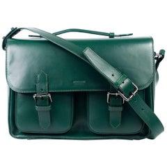 Roberto Cavalli Green Smooth Leather Double Strap Satchel Shoulder Bag