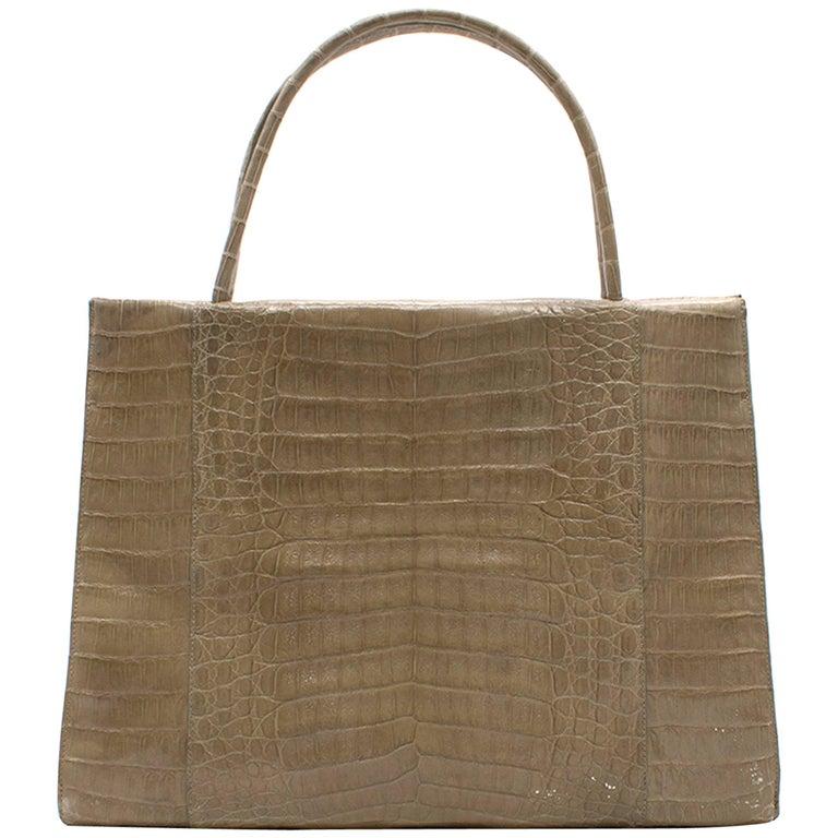 Nancy Gonzalez Beige Crocodile Leather Top Handle Bag
