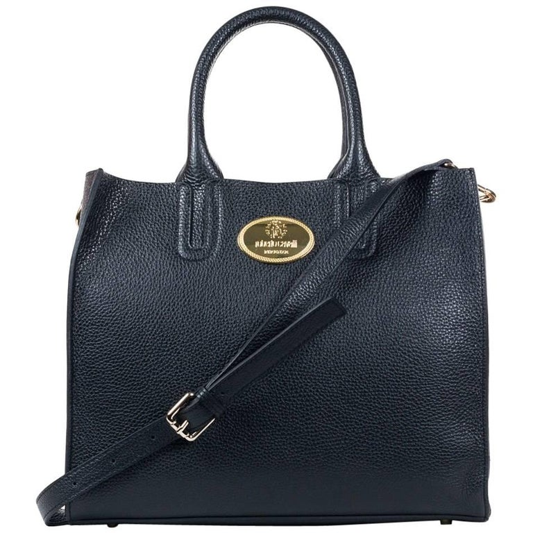 Roberto Cavalli Structured Black Grainy Calf Leather Tote Bag