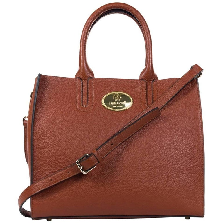 Roberto Cavalli Structured Brown Grainy Calf Leather Tote Bag