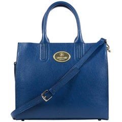 Roberto Cavalli Structured Navy Grainy Calf Leather Tote Bag