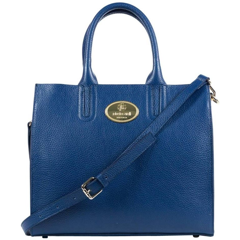 Roberto Cavalli Structured Navy Grainy Calf Leather Tote Bag For Sale at  1stdibs c58714d4e