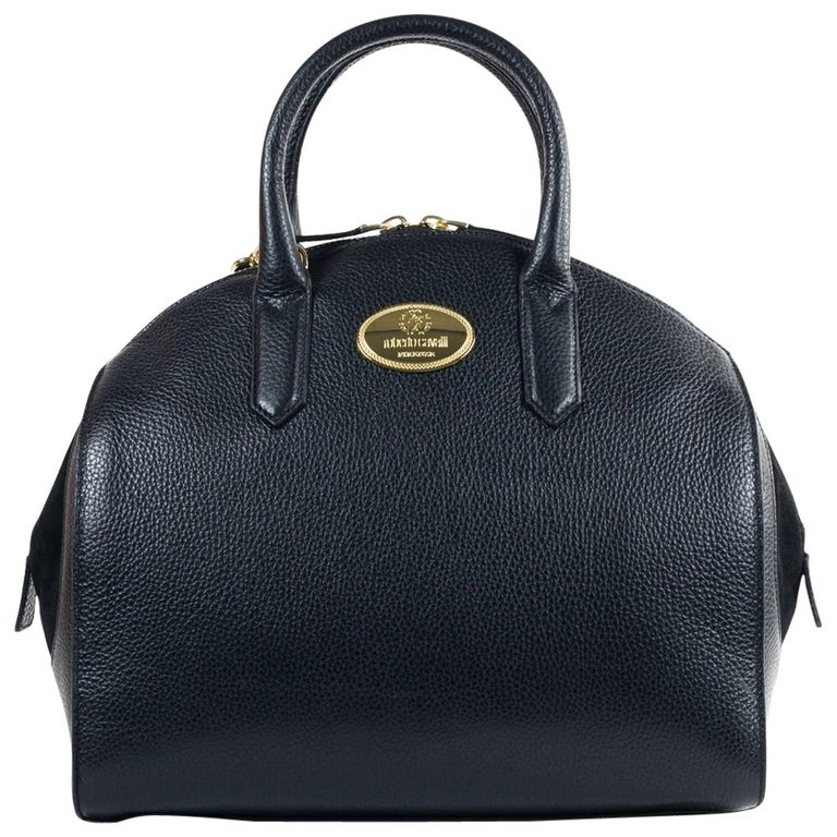 Roberto Cavalli Womens Black Grained Leather Bowler Handbag For Sale at  1stdibs d105a3671