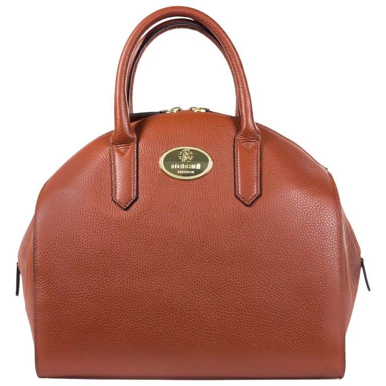 Roberto Cavalli Womens Orange Brown Grained Leather Bowler Handbag