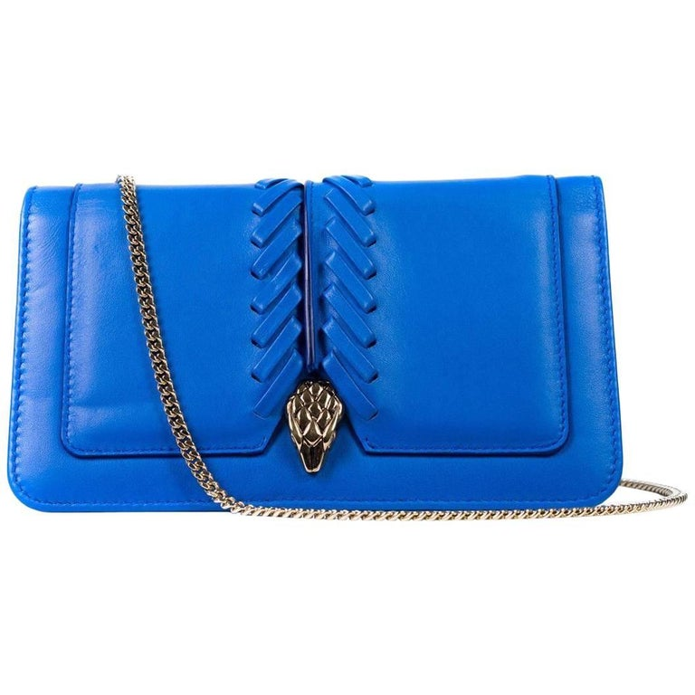 Roberto Cavalli Womens Blue Serpent Wallet Clutch Mini Shoulder Bag For Sale